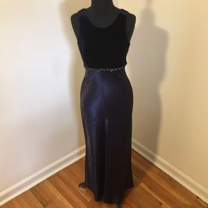 90s Roberta Velvet and satin blue lace up gown